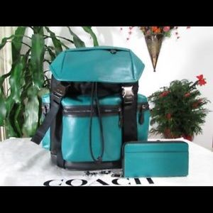 Trek pack perforated coach backpack green leather